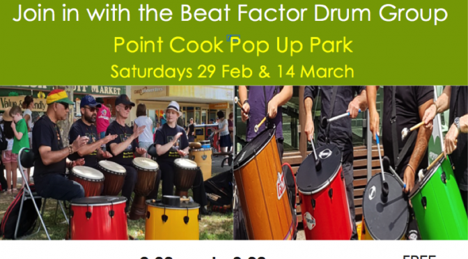 Community drum jam – 14 march- PC pop up park-CANCELLED